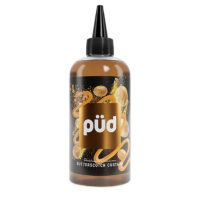 PUD Butterscotch Custard is a flavour from the Pudding and Decadence line-up by Joe's Juice. It is sold in 240ml bottles filled up to 200ml so you can add 40ml base. This nicotine free shortfill is produced in the UK with a PG/VG ratio of 30%PG/70%VG. which is short for 30% Propylene Glycol and 70% Vegetable Glycerin. You can tweak this ratio slightly, depending on the base you will choose.