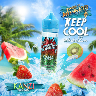 Twelve Monkeys Kanzi Iced is an icy mix of strawberry, watermelon and kiwi. This Canadian Shake and Vape has a PG/VG ratio of 20%PG/80%VG. It is available in 50ml bottles.