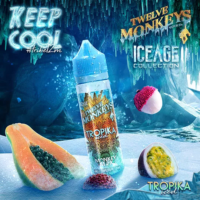 Twelve Monkeys Tropika Iced is an e-liquid with an icy cocktail of tropical fruits. This Canadian Shake and Vape has a PG/VG ratio of 20%PG/80%VG. It is available in 50ml bottles.