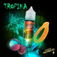 Twelve Monkeys Tropika is an e-liquid with a cocktail of tropical fruits. This Canadian Shake and Vape has a PG/VG ratio of 20%PG/80%VG. It is available in 50ml bottles.
