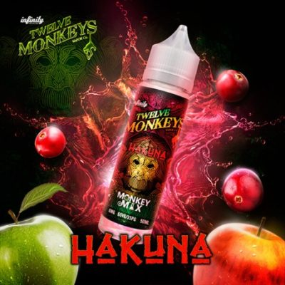 Twelve Monkeys Hakuna is an e-liquid that combines sour green apples and sweet red apples. This Canadian Shake and Vape has a PG/VG ratio of 35%PG/65%VG. It is available in 50ml bottles.
