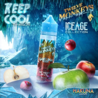 Twelve Monkeys Hakuna Iced is an e-liquid that combines sour green apples, sweet red apples and menthol. This Canadian Shake and Vape has a PG/VG ratio of 35%PG/65%VG. It is available in 50ml bottles.