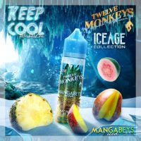 Twelve Monkeys Mangabeys Iced is an e-liquid with a cocktail of mango, pineapple and menthol. This Canadian Shake and Vape has a PG/VG ratio of 25%PG/75%VG. It is available in 50ml bottles.