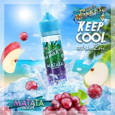 Twelve Monkeys Matata Iced is an e-liquid with a cocktail of apple, grape and menthol. This Canadian Shake and Vape has a PG/VG ratio of 25%PG/75%VG. It is available in 50ml bottles.