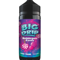 Bubblegum Candy by Big Drip is a spearmint chewing gum e-liquid. Manufactured in the UK by Doozy Vape with a PG/VG ratio of 30%PG/70%VG. It is available in 120ml bottles filled up to 100ml, which leaves you room for two nicotine boosters.