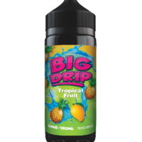 Tropical Fruit by Big Drip is an e-liquid with a mix of mango, pineapple and passion fruit. Manufactured in the UK by Doozy Vape with a PG/VG ratio of 30%PG/70%VG. It is available in 120ml bottles filled up to 100ml, which leaves you room for two nicotine boosters.