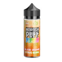 Blood Orange Citrus Guava by Moreish Puff Fruits is a fresh flavour with a tropical twist. This shortfill e-liquid is produced in the UK with 30%PG/70%VG.