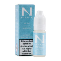 This nicotine booster contains 10ml of e-liquid base with 18mg/ml nicotine strength. The PG/VG ratio is 30% Propylene Glycol and 70% Vegetable Glycerin. It is flavourless but features a cold menthol-like kick.